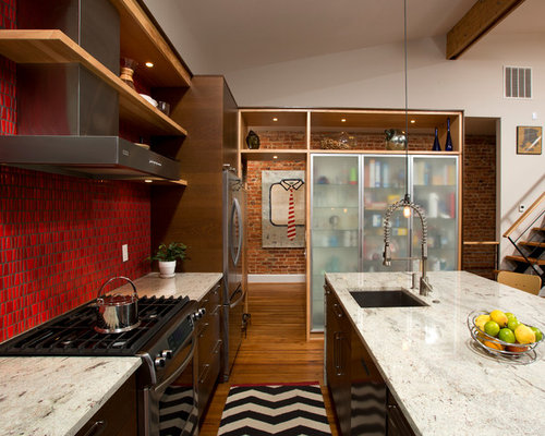 red backsplash | houzz