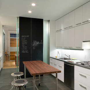 This is an example of a midcentury separate kitchen in New York with flat-panel cabinets, stainless steel appliances, white cabinets and an integrated sink.