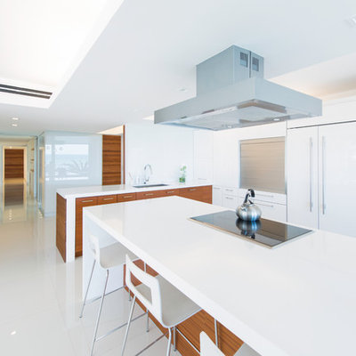 Example of a minimalist kitchen design in Miami with an undermount sink, flat-panel cabinets, white cabinets and paneled appliances