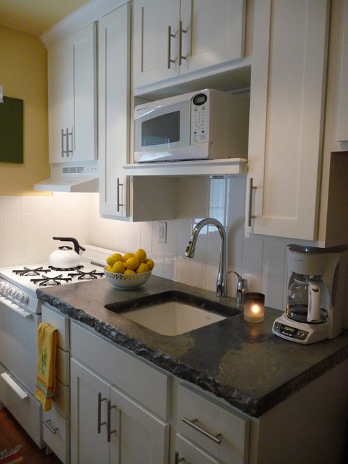 Small Transitional Enclosed Kitchen Pictures   Inspiration For A Small  Transitional Single Wall Medium Tone