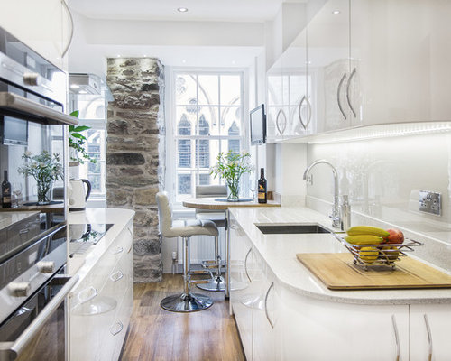 Small Contemporary Eat In Kitchen Designs   Inspiration For A Small  Contemporary Galley Eat  Part 61