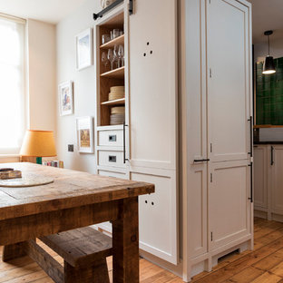 Small Transitional Eat In Kitchen Ideas   Example Of A Small Transitional  L Shaped