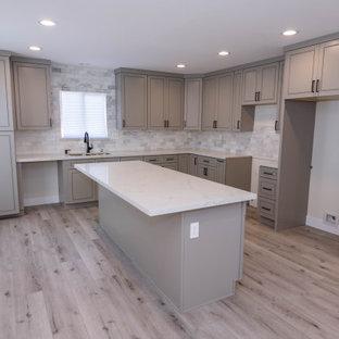 ロサンゼルスの広いモダンスタイルのおしゃれなキッチン (ダブルシンク、レイズドパネル扉のキャビネット、グレーのキャビネット、珪岩カウンター、マルチカラーのキッチンパネル、大理石のキッチンパネル、クッションフロア、グレーの床、白いキッチンカウンター、折り上げ天井) の写真