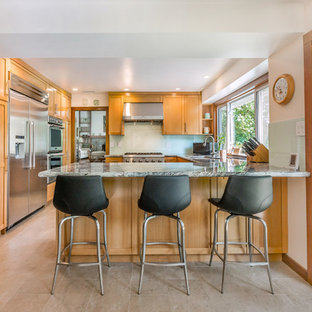 Midcentury Modern Kitchen Pictures Example Of A 1960s U Shaped Gray Floor Design