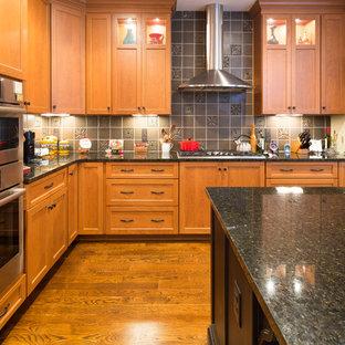 シンシナティの中サイズのおしゃれなキッチン (ダブルシンク、フラットパネル扉のキャビネット、赤いキャビネット、御影石カウンター、黒いキッチンパネル、セラミックタイルのキッチンパネル、シルバーの調理設備の、淡色無垢フローリング) の写真