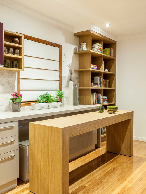 Kitchen   Contemporary Single Wall Medium Tone Wood Floor Kitchen Idea In  Brisbane With Flat