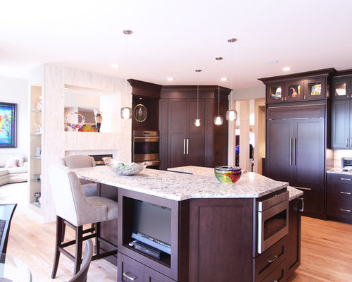 Dark Maple Cabinets with Quartz Countertops