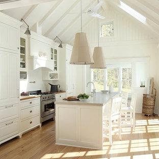 Coastal kitchen remodeling - Kitchen - coastal galley kitchen idea in Boston with raised-panel cabinets, white cabinets, concrete countertops and white backsplash