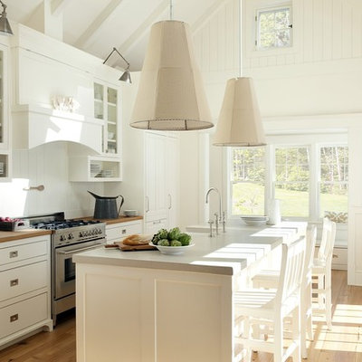 Inspiration for a coastal galley kitchen remodel in Boston with raised-panel cabinets, white cabinets, concrete countertops, white backsplash and paneled appliances