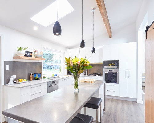 Inspiration For A Contemporary L Shaped Kitchen In Central Coast With A  Double Bowl