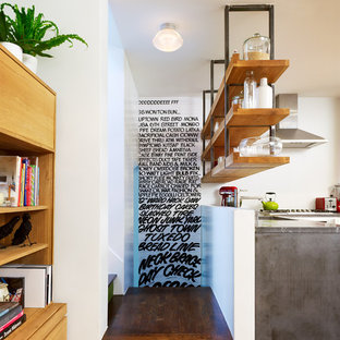 Concrete Counters with Suspended Shelving above