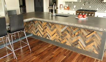 Concrete rock edge island countertop