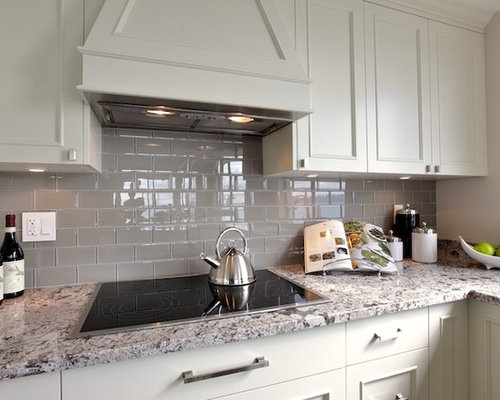 Grey Kitchens White Appliances Mosaic Backsplash