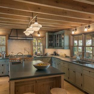 75 most popular rustic kitchen with glass tile backsplash design rh houzz com White Kitchen Cabinets rustic kitchen tile backsplash ideas