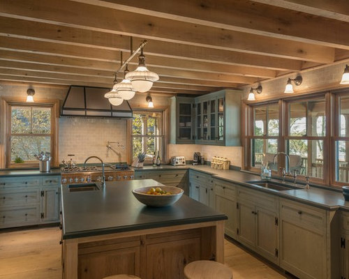 Large Rustic Open Concept Kitchen Remodeling   Large Mountain Style  U Shaped Light Wood Floor
