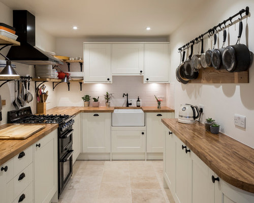 Small Traditional U Shaped Kitchen In London With A Belfast Sink, Shaker  Cabinets,