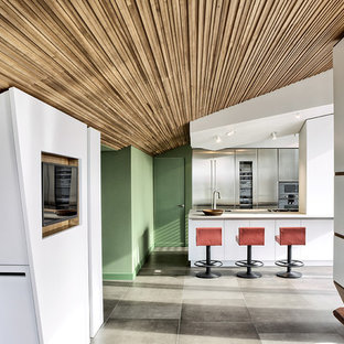 Mid-sized contemporary kitchen designs - Example of a mid-sized trendy single-wall concrete floor kitchen design in Turin with flat-panel cabinets, stainless steel cabinets, stainless steel appliances and a peninsula