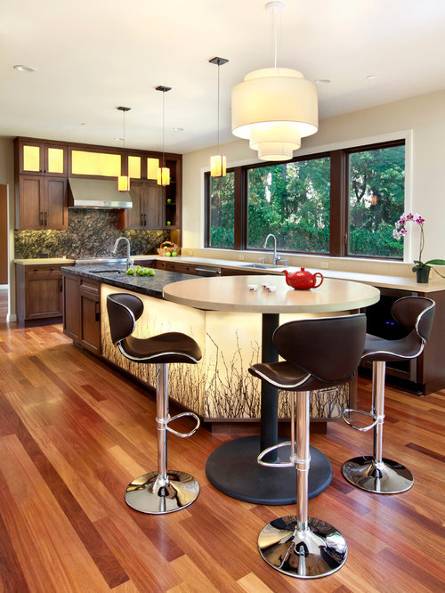 large transitional medium tone wood floor and beige floor kitchen photo in san francisco with stainless alder wood cabinets   houzz  rh   houzz com