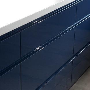 Contemporary Blue High Gloss Kitchen