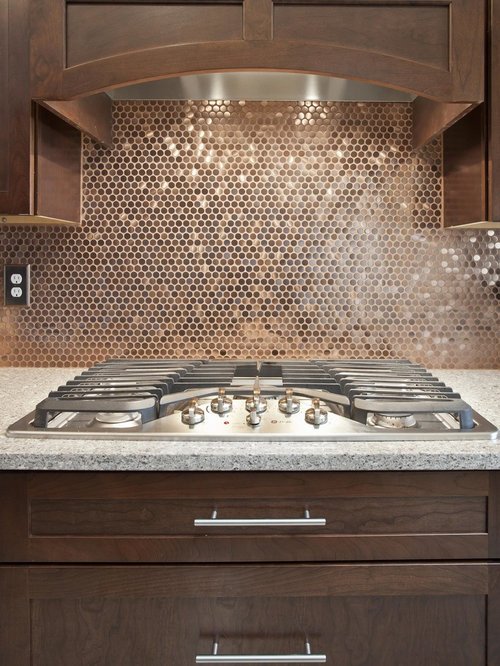 tile a kitchen backsplash copper rounds houzz 6116
