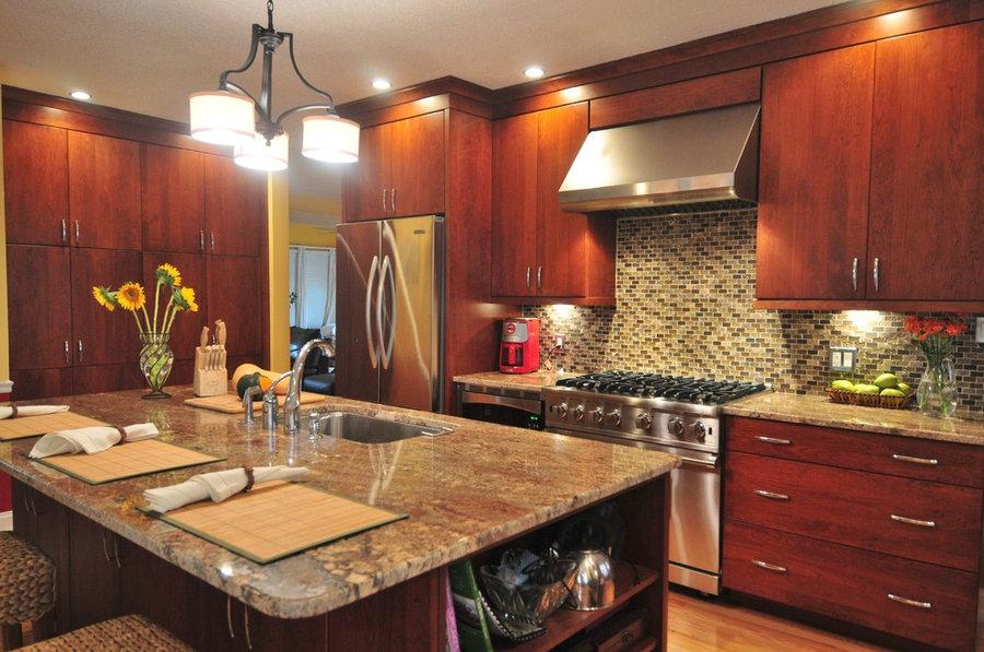 contemporary Cherry Open Kitchen