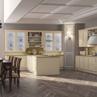 Mid-sized trendy single-wall ceramic tile kitchen pantry photo in San Diego with a double-bowl sink, flat-panel cabinets, white cabinets, quartz countertops, multicolored backsplash, stone slab backsplash, paneled appliances and an island