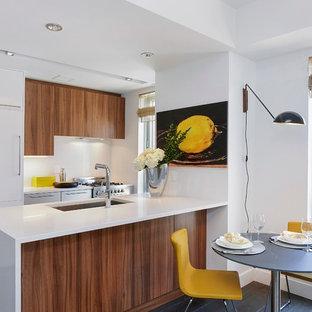 ニューヨークの小さいコンテンポラリースタイルのおしゃれなキッチン (アンダーカウンターシンク、フラットパネル扉のキャビネット、中間色木目調キャビネット、白いキッチンパネル、クオーツストーンカウンター、石スラブのキッチンパネル、白い調理設備、淡色無垢フローリング) の写真