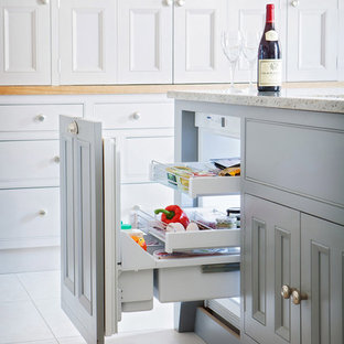 Inspiration for a contemporary kitchen in Other with beaded cabinets and grey cabinets.
