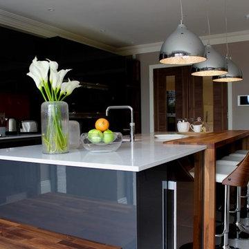 Contemporary dark grey kitchen with large island