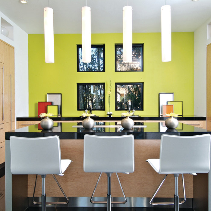 Lime Green Contemporary Kitchen