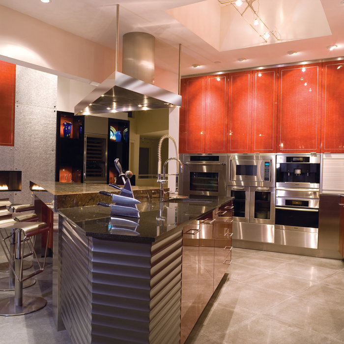 Red Accent Contemporary kitchen