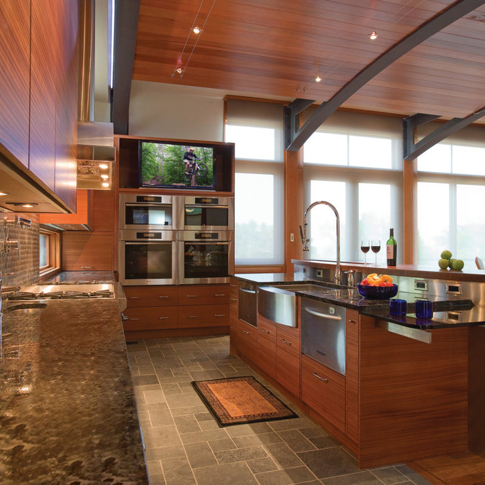 Contemporary Cherry Wood Kitchen