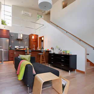 Trendy open concept kitchen photo in Seattle with a peninsula