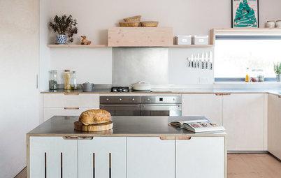 Veckans kök: Ett ekovänligt plywoodkök med köksö på hjul