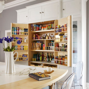 Design ideas for a classic kitchen pantry in Other with shaker cabinets, white cabinets and an island.