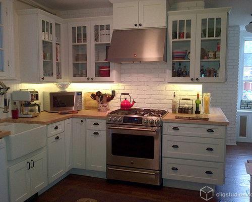 White Brick Backsplash Home Design Ideas Pictures