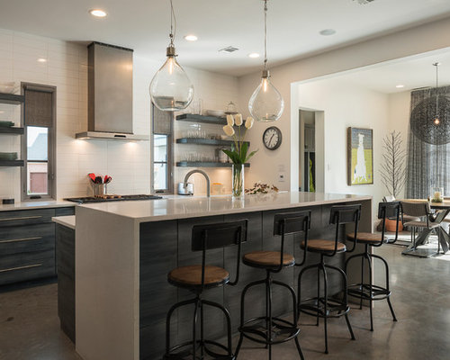 Industrial Kitchen With Granite Countertops Design Ideas Remodel Pictures Houzz