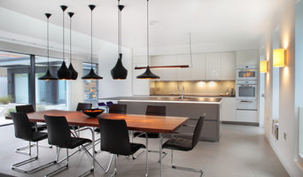 Contemporary high gloss grey & white kitchen/dining