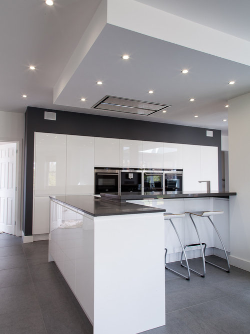 White and grey kitchen houzz for Black white and gray kitchen design