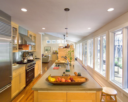 Long Narrow Kitchen Houzz - Long narrow kitchen design