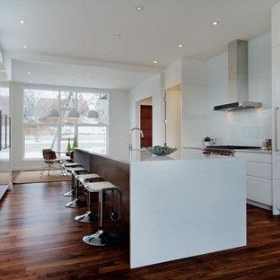 Foto di una cucina design con lavello sottopiano, ante lisce, ante bianche, paraspruzzi bianco, paraspruzzi con lastra di vetro, elettrodomestici in acciaio inossidabile, pavimento in legno massello medio, isola e top alla veneziana