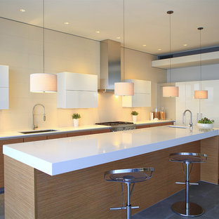 Contemporary kitchen remodeling - Kitchen - contemporary kitchen idea in Orange County with quartz countertops