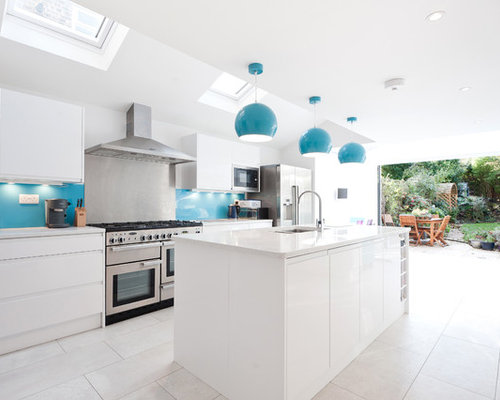 blue and white kitchen | houzz