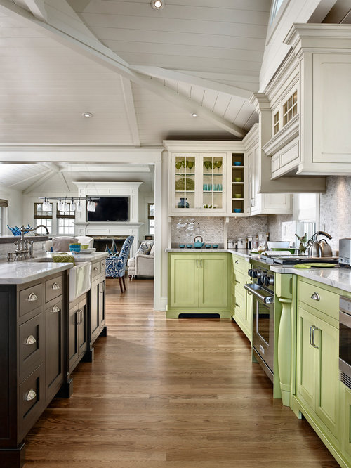 example of a trendy kitchen design in philadelphia with stone tile backsplash a farmhouse sink - Different Kitchen Cabinets