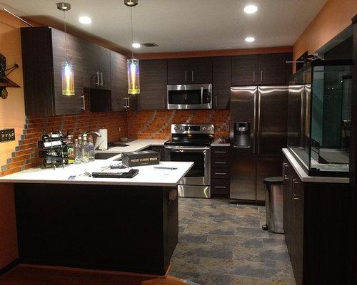 Kitchen design ideas renovations photos with orange for Orange and brown kitchen decor