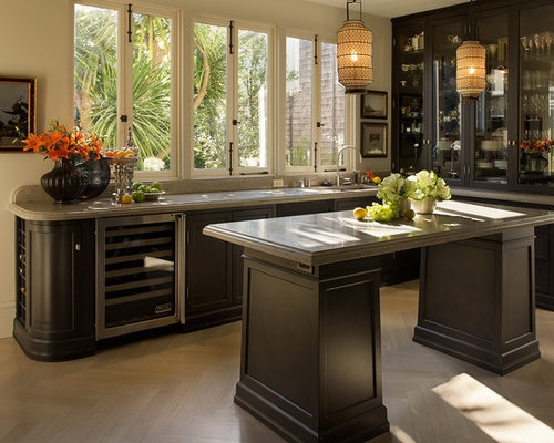 Trendy L Shaped Kitchen Photo In San Francisco With Glass Front Cabinets And Dark