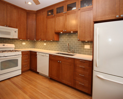 Cherry cabinets white appliances home design ideas for Cherry and white kitchen cabinets