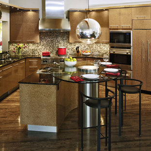 Contemporary u-shaped eat-in kitchen in Denver with stainless steel appliances, a double-bowl sink, louvered cabinets, brown cabinets, quartzite benchtops, multi-coloured splashback, dark hardwood floors and with island.