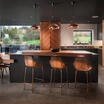 Contemporary kitchen diner: walnut, stainless steel, copper