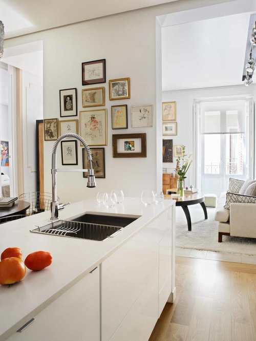 Trendy Kitchen Photo In Other With White Cabinets